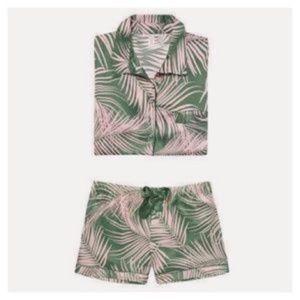 VS Palm Print Satin Shortie Pajamas
